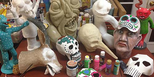 Group of paper mache sculptures