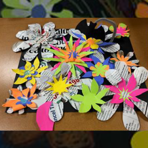Paper flowers on construction paper