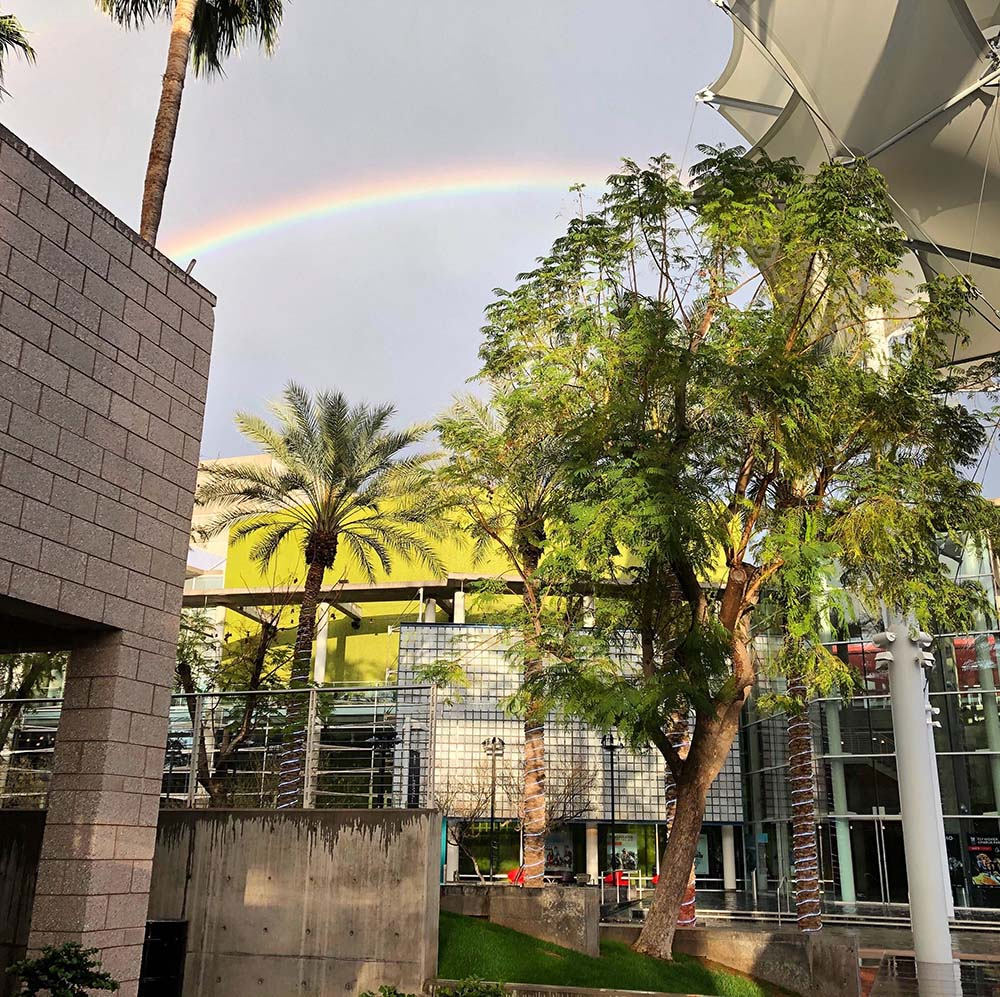 Rainbow over Mesa Arts Center campus