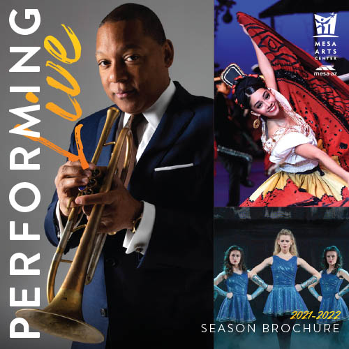 Season brochure cover featuring Wynton Marsalis, Ballet Folklorico, and RIverdance
