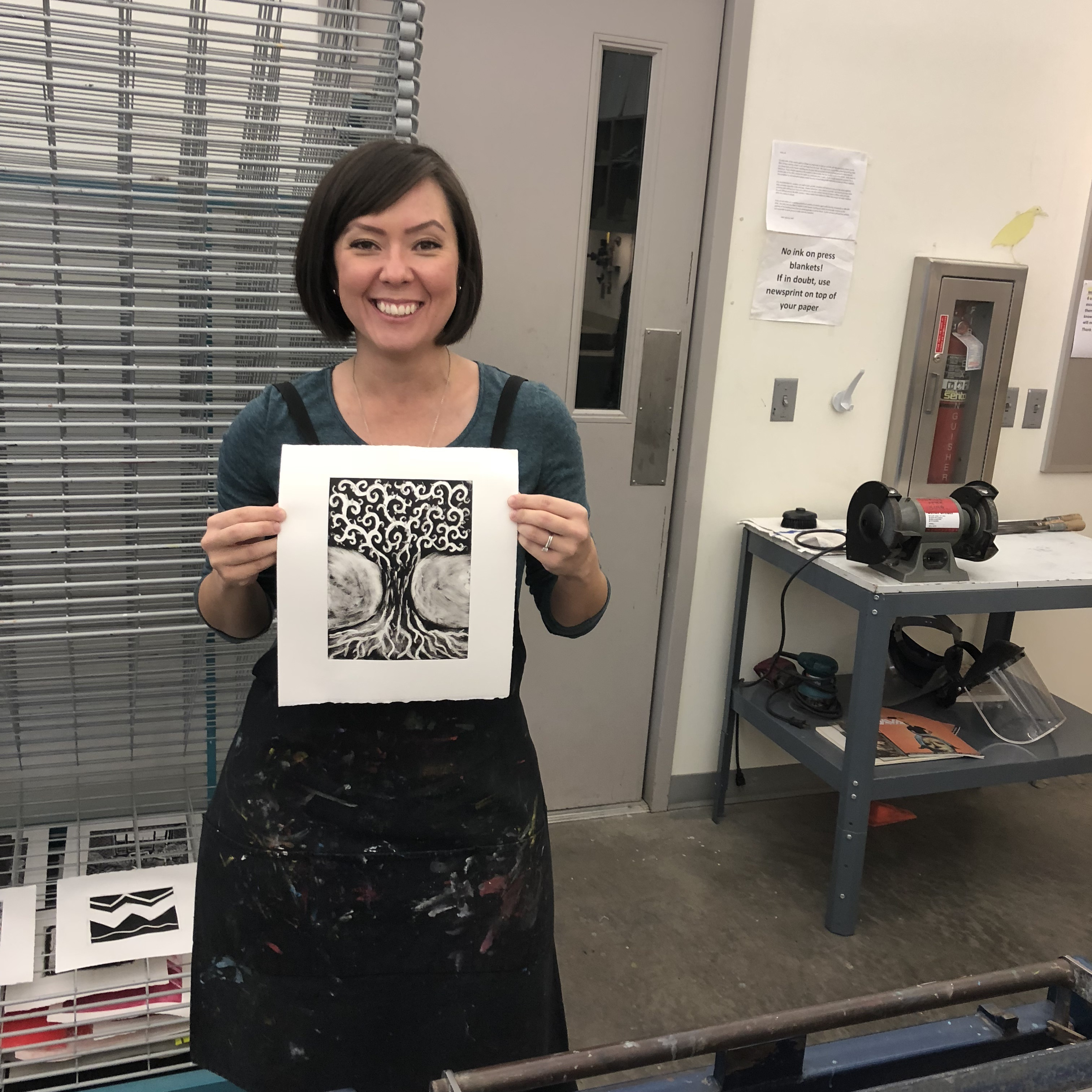 Veteran shows off her work in Intro to Printmaking for military personnel